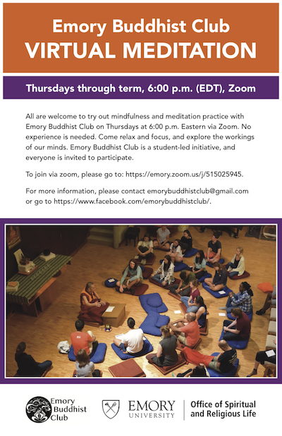 Emory Buddhist Club Virtual Meditation Poster